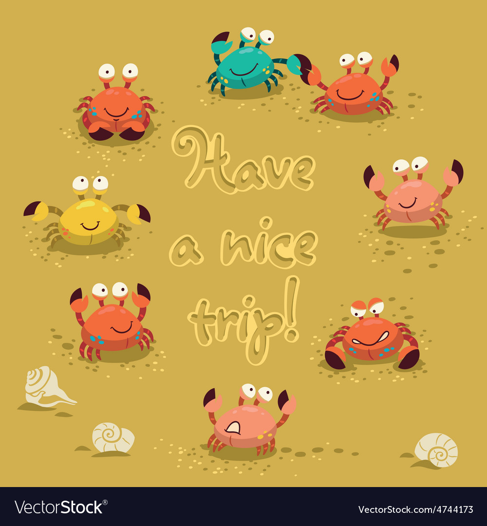 Cute of colorful crabs and vector | Price: 1 Credit (USD $1)