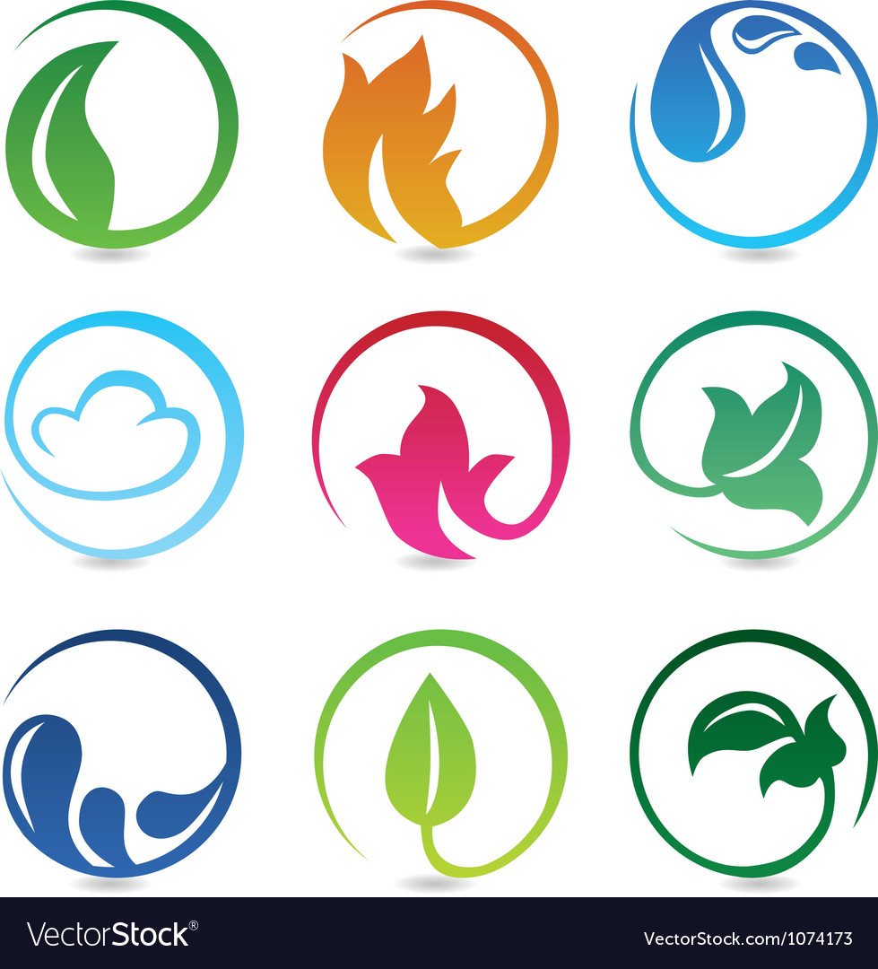 Design elements with nature signs vector | Price: 1 Credit (USD $1)