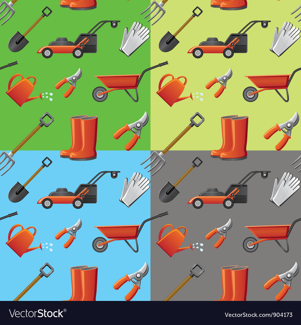 Garden tools seamless pattern vector | Price: 3 Credit (USD $3)
