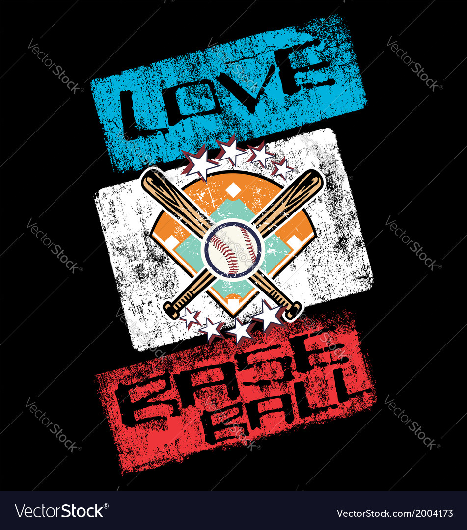 Love baseball vector | Price: 1 Credit (USD $1)
