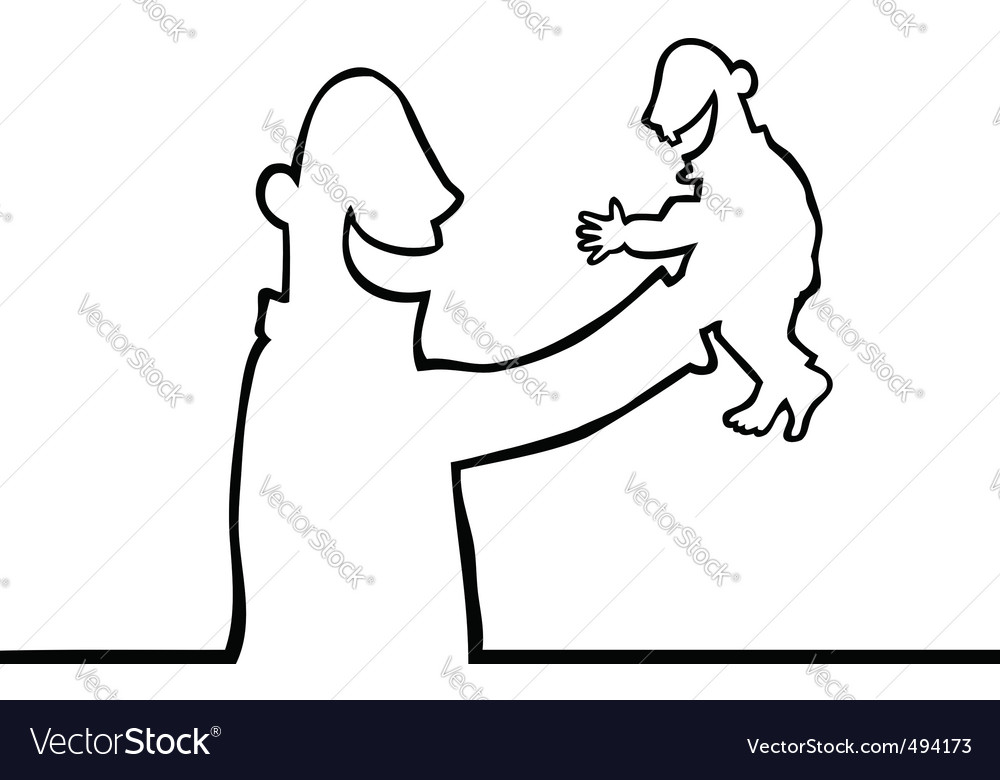 Person holding baby vector | Price: 1 Credit (USD $1)