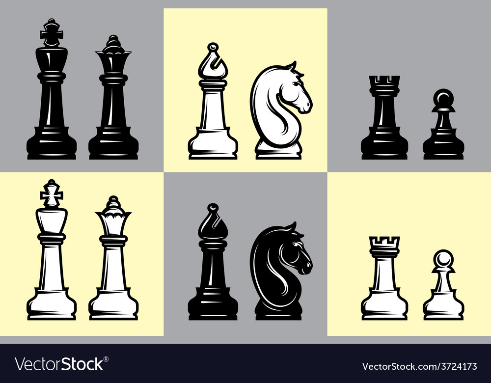 Sets of black and white chess with part of the vector | Price: 1 Credit (USD $1)