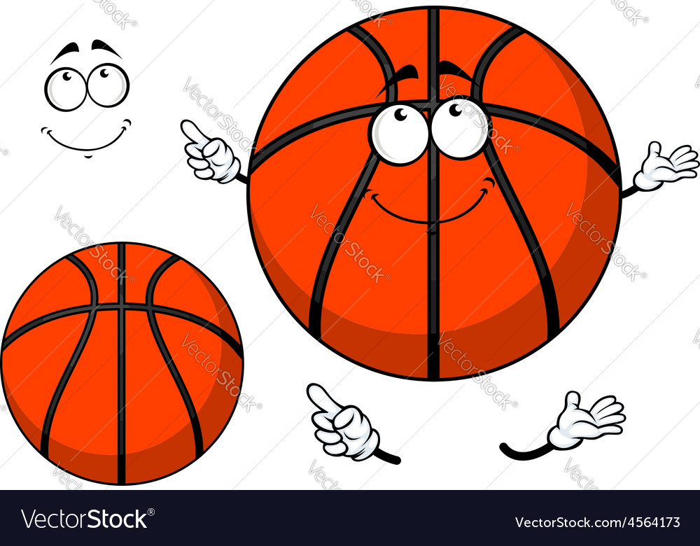 Smiling cartoon basketball ball with a cute grin vector   Price: 1 Credit (USD $1)