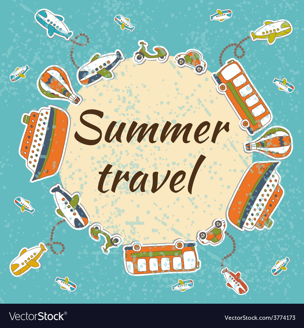 Summer travel card summer vacation concept vector | Price: 1 Credit (USD $1)