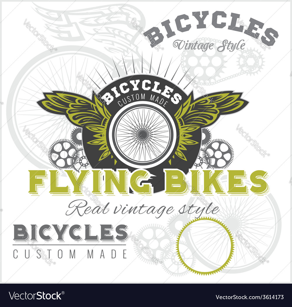 Vintage elements with bicycle label set template vector | Price: 1 Credit (USD $1)