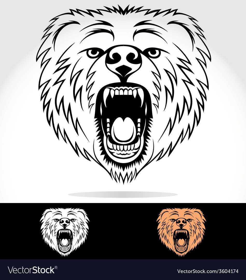 Angry bear face tribal vector | Price: 1 Credit (USD $1)