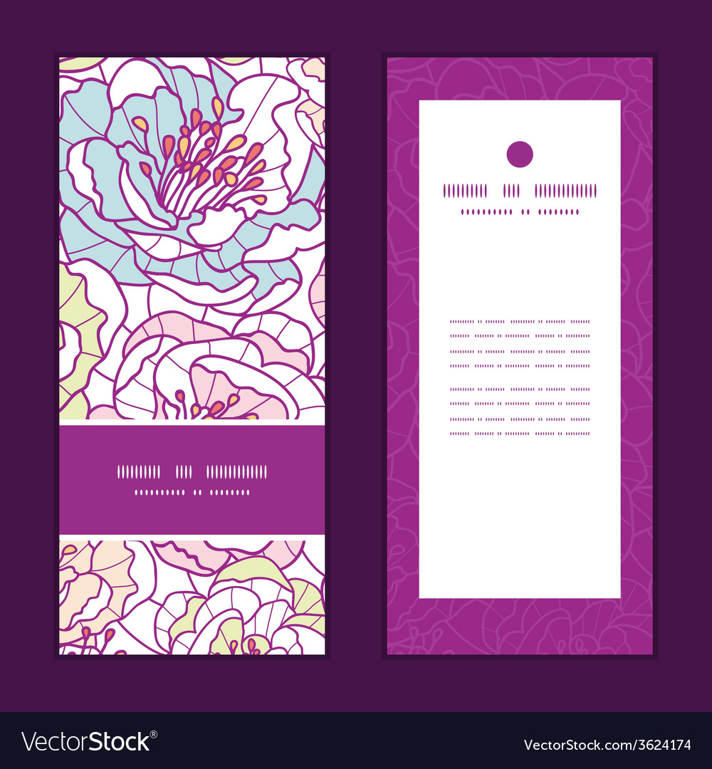 Colorful line art flowers vertical frame pattern vector | Price: 1 Credit (USD $1)