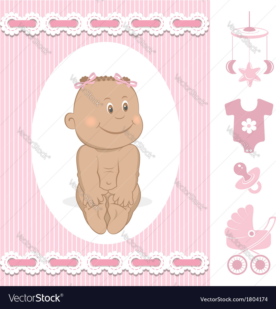 Cute african baby girl vector | Price: 1 Credit (USD $1)