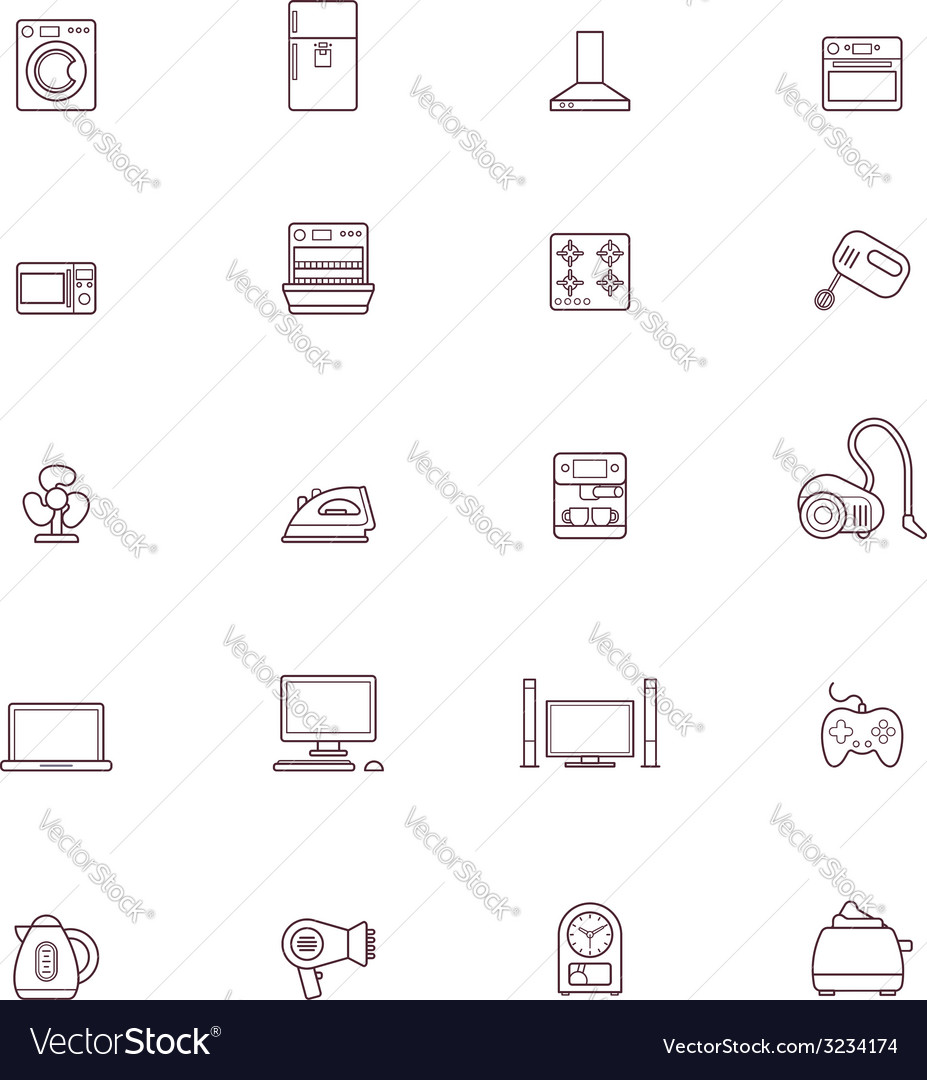 Domestic appliances icon set vector | Price: 1 Credit (USD $1)