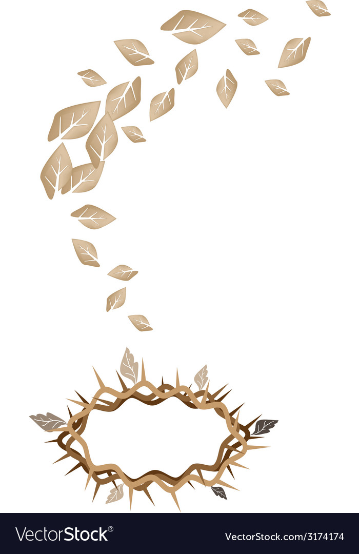 Dried leaves falling to a crown of thorns vector | Price: 1 Credit (USD $1)