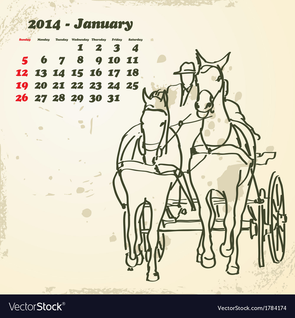 January 2014 hand drawn horse calendar vector | Price: 1 Credit (USD $1)