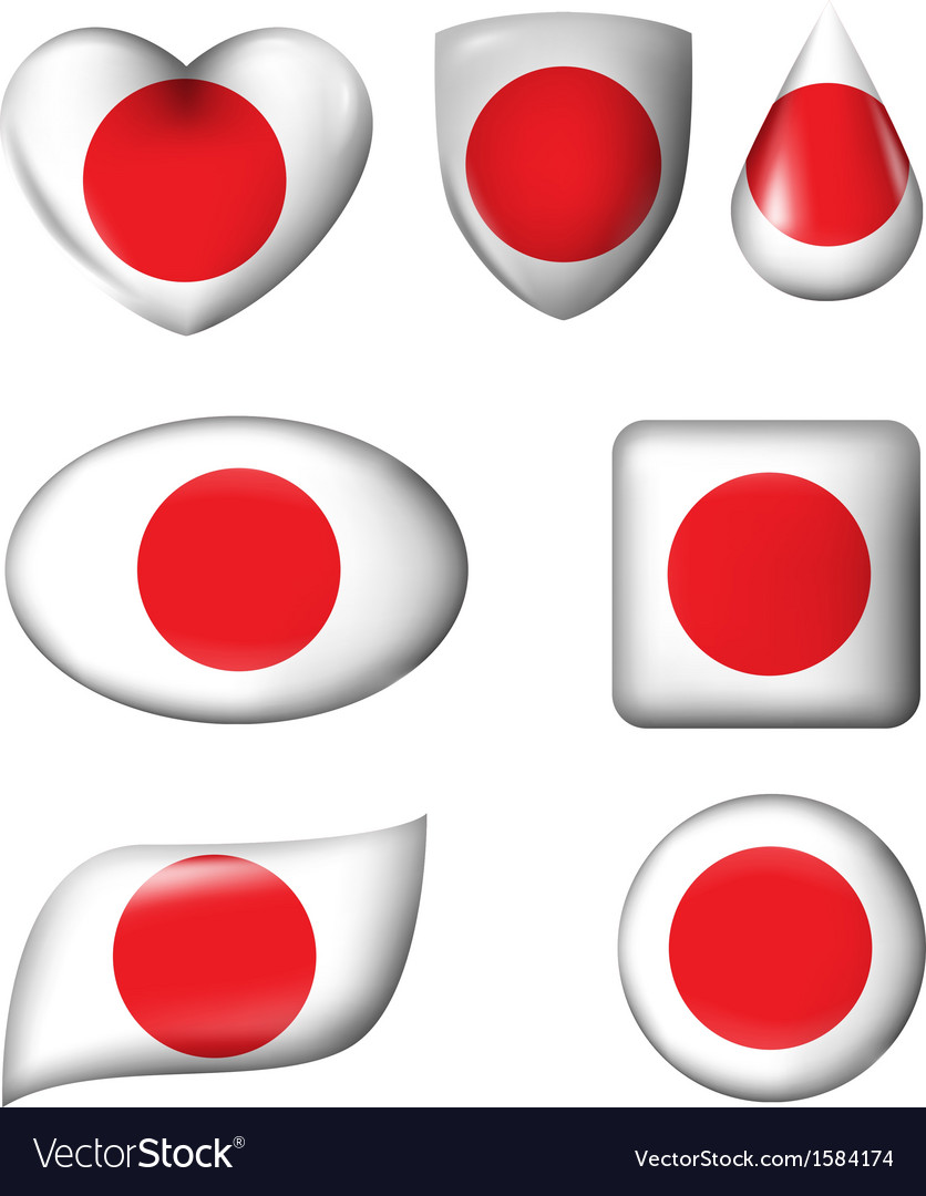 Japanese flag in various shape glossy button vector   Price: 1 Credit (USD $1)