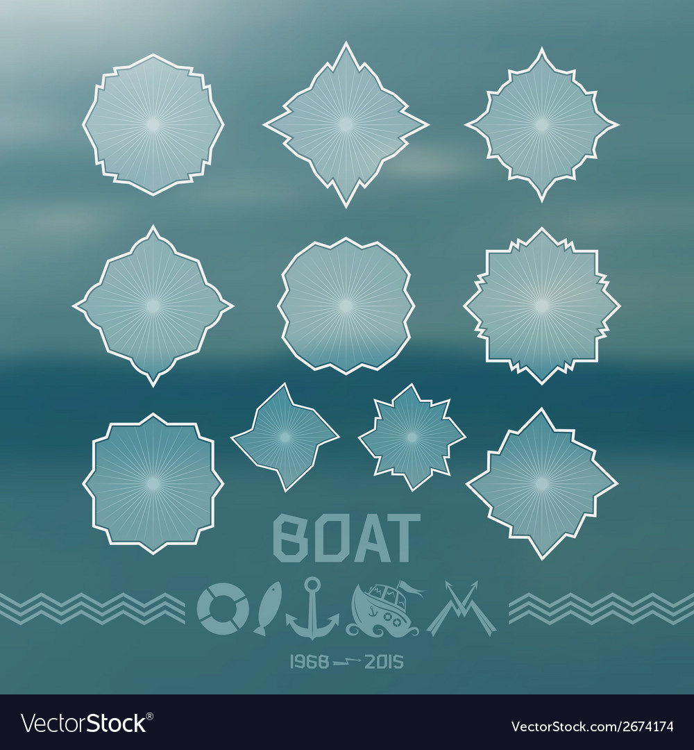 Label elements and icons in marine style vector | Price: 1 Credit (USD $1)