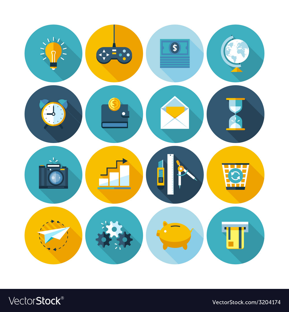Modern flat icons collection with long shadow vector   Price: 1 Credit (USD $1)