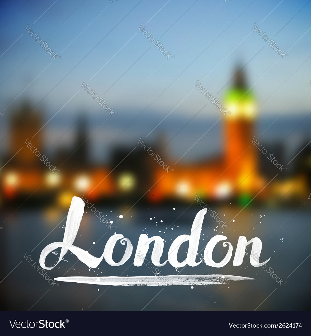 White calligraphy london sign on blurred photo vector | Price: 1 Credit (USD $1)