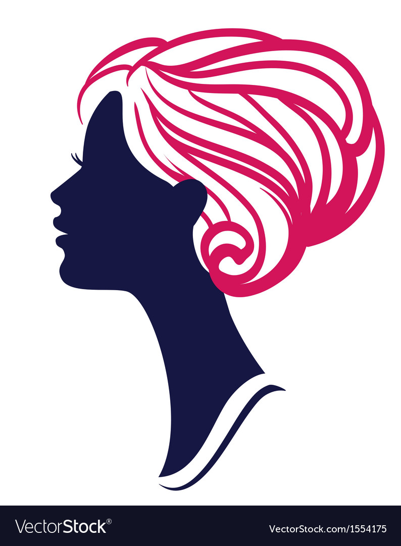 Beautiful womanl silhouette with stylish hairstyle vector | Price: 1 Credit (USD $1)