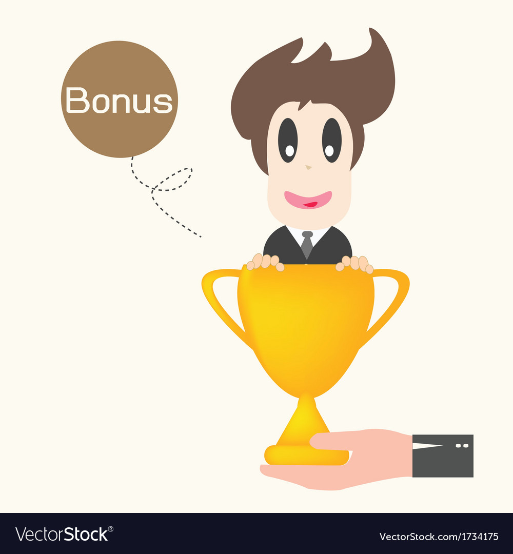 Businessman happy get money bonus vector | Price: 1 Credit (USD $1)