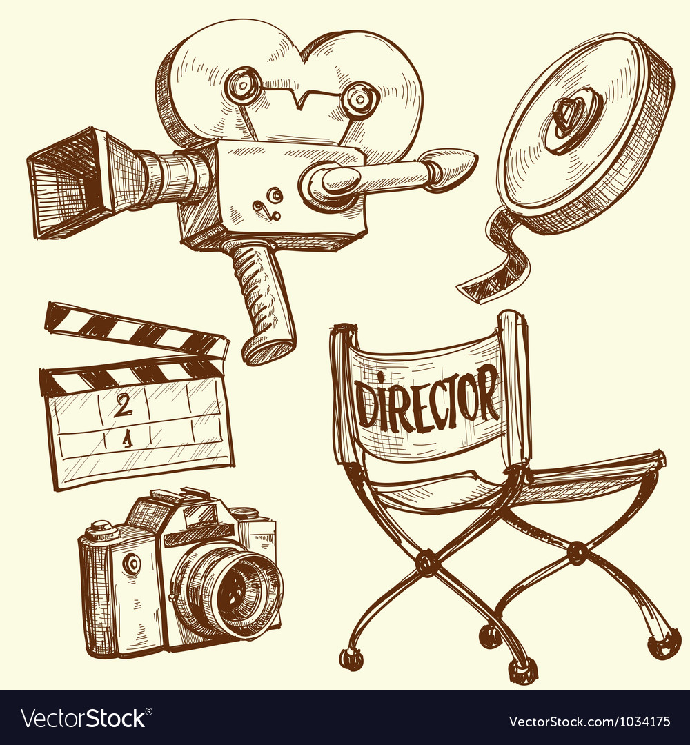 Cinema and photography vintage set vector | Price: 1 Credit (USD $1)