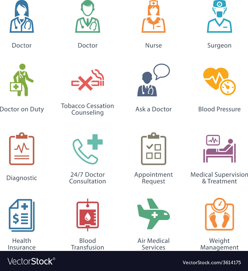 Colored medical services icons - set 2 vector   Price: 1 Credit (USD $1)