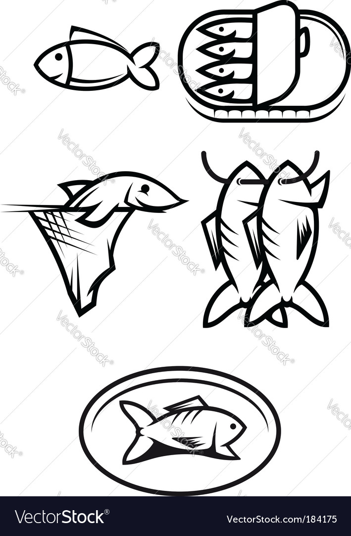 Fish food symbols vector | Price: 1 Credit (USD $1)
