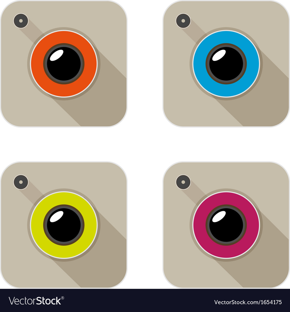 Flat long shadow camera vector | Price: 1 Credit (USD $1)