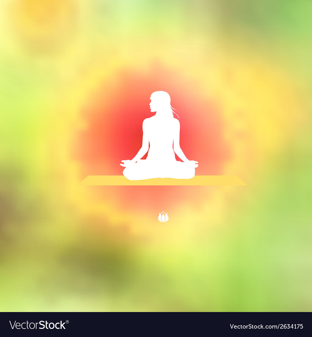 Meditation pose blurred floral background vector | Price: 1 Credit (USD $1)