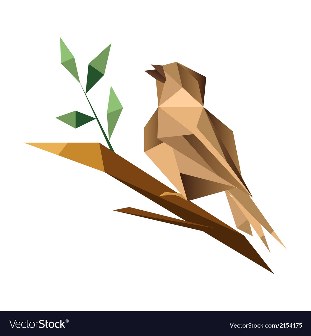 Origami sparrrow vector | Price: 1 Credit (USD $1)