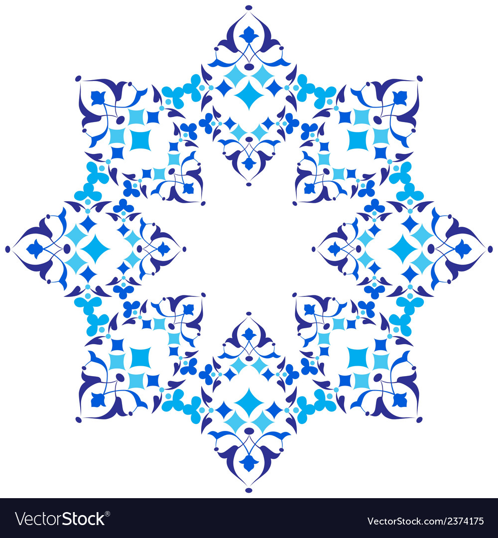 Ottoman motifs blue design series of fifty five vector | Price: 1 Credit (USD $1)
