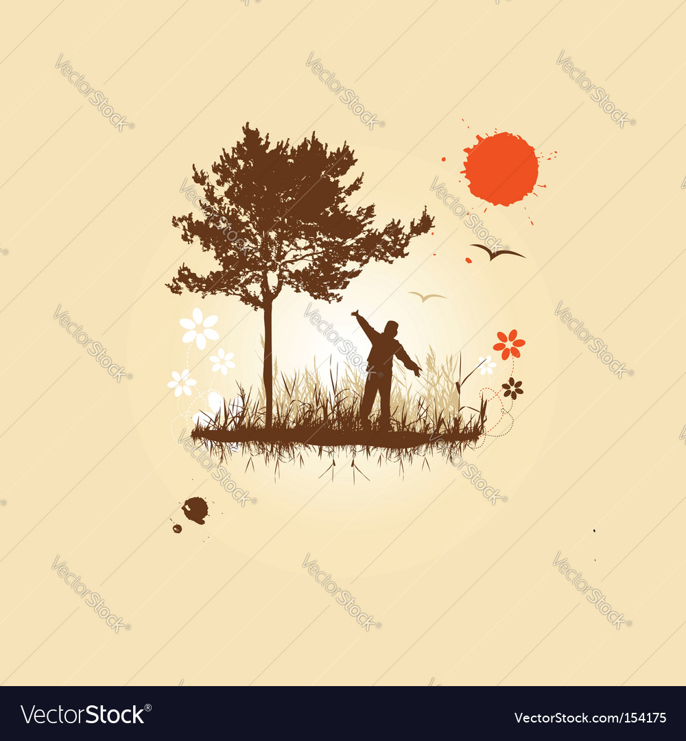 People and nature vector | Price: 1 Credit (USD $1)