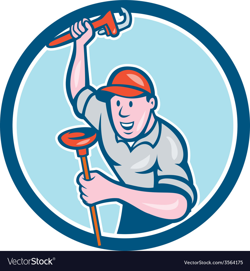 Plumber holding wrench plunger circle cartoon vector | Price: 1 Credit (USD $1)