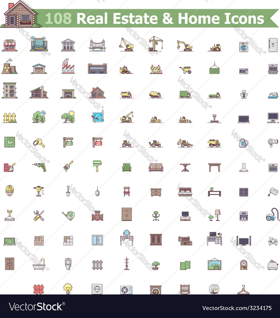 Real estate and home icon set vector | Price: 1 Credit (USD $1)
