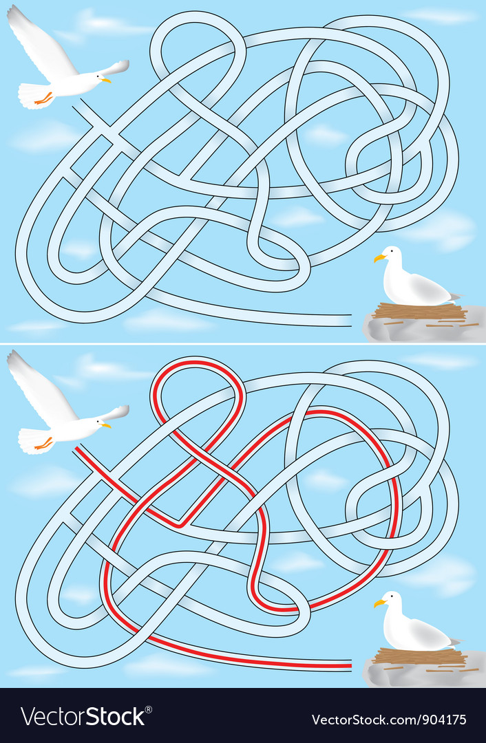 Seagull maze vector | Price: 1 Credit (USD $1)