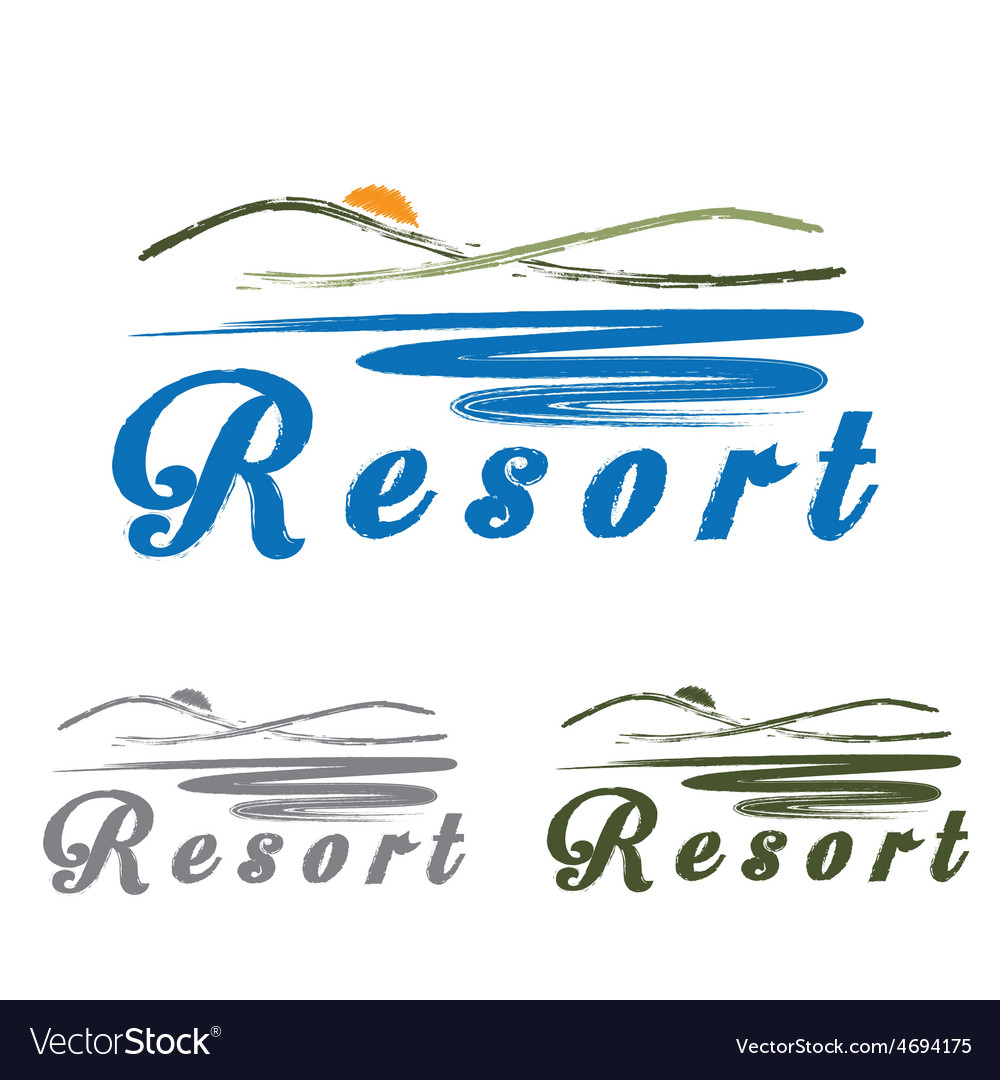 Sketch hills and sea emblem of resort vector | Price: 1 Credit (USD $1)