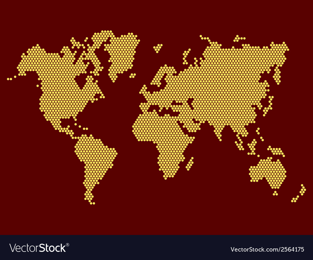 World map dotted on dark background vector | Price: 1 Credit (USD $1)