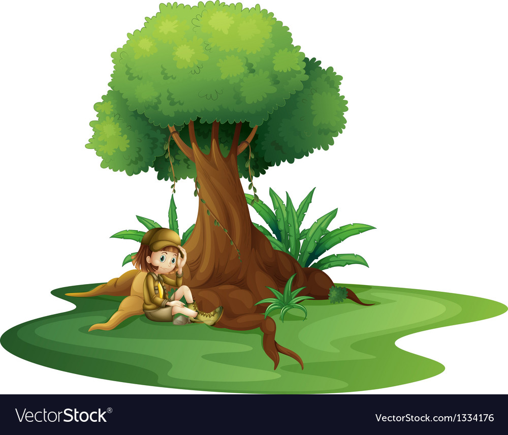 A young girl relaxing under a big tree vector | Price: 1 Credit (USD $1)