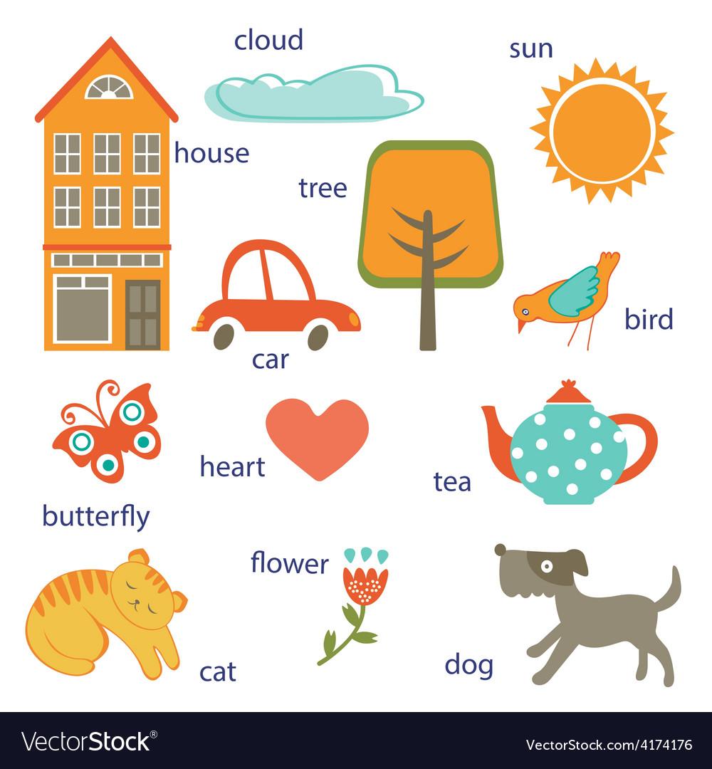 Cute preschool words collection vector | Price: 1 Credit (USD $1)