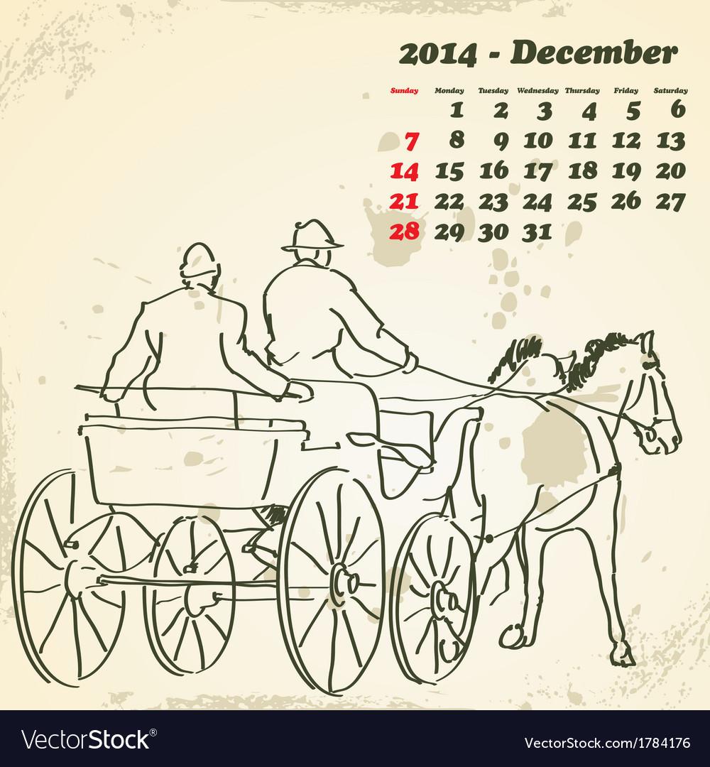 December 2014 hand drawn horse calendar vector   Price: 1 Credit (USD $1)