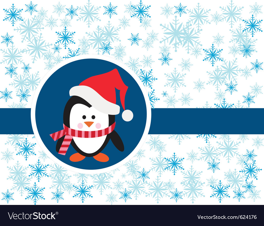 Penguin on snowy background vector | Price: 1 Credit (USD $1)