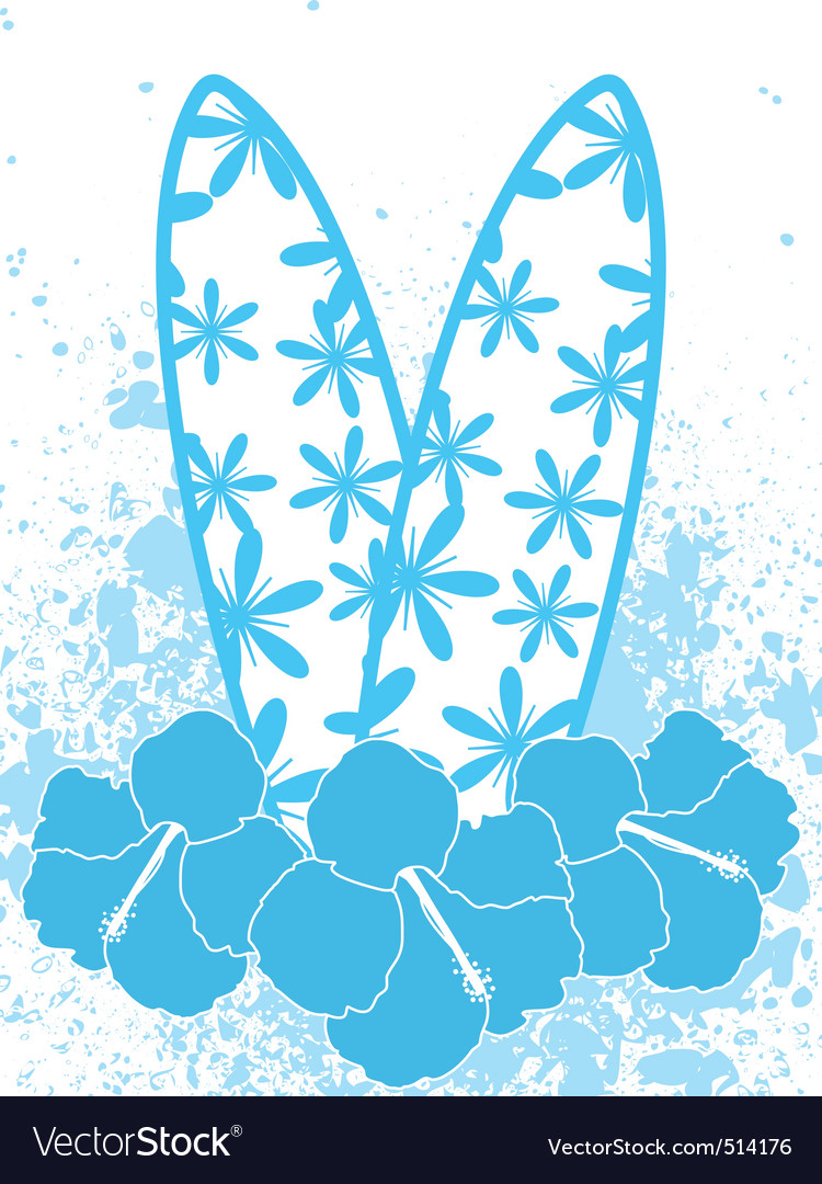 Surfboards and hibiscus flowers vector | Price: 1 Credit (USD $1)