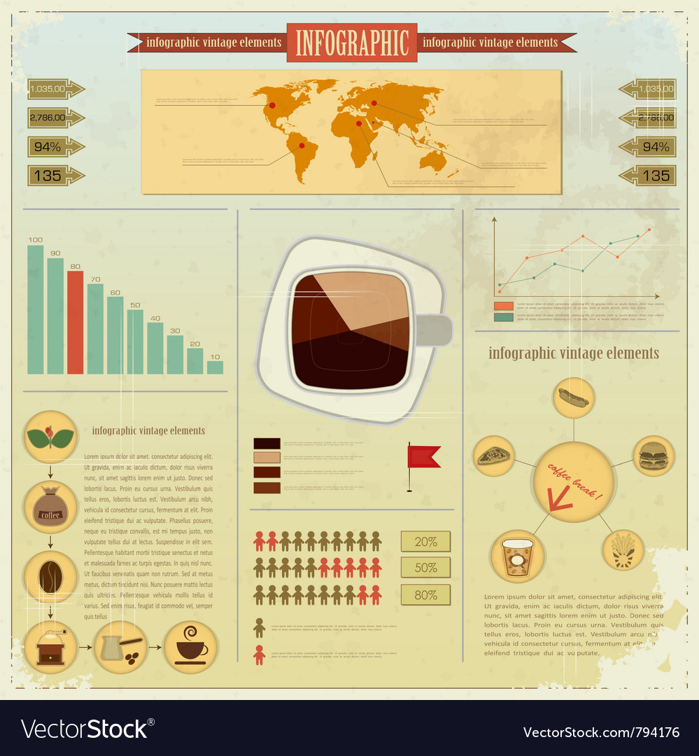 Vintage infographics set vector | Price: 3 Credit (USD $3)