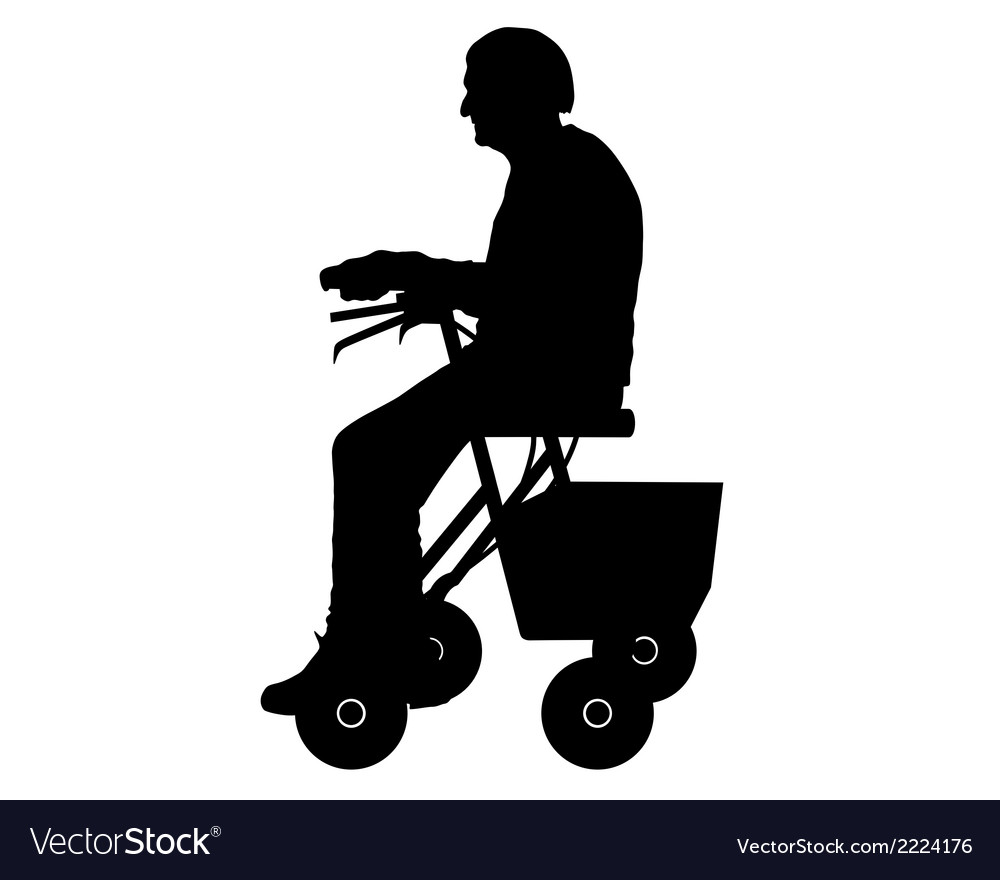 Woman with rollator vector | Price: 1 Credit (USD $1)