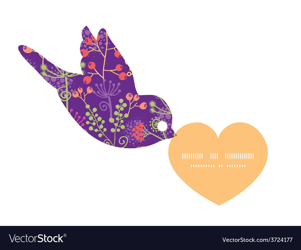 Colorful garden plants birds holding heart vector | Price: 1 Credit (USD $1)