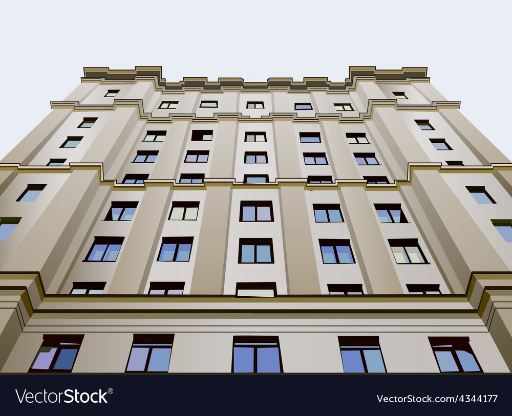 Dwelling building view from below vector | Price: 3 Credit (USD $3)