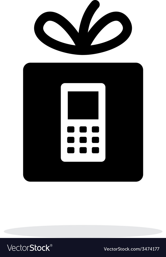 Gift phone icon on white background vector | Price: 1 Credit (USD $1)