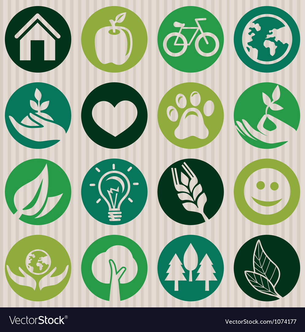 Green seamless pattern with ecology signs vector | Price: 1 Credit (USD $1)