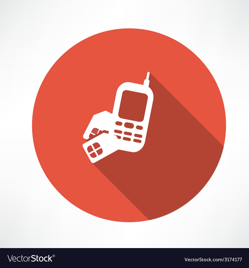 Phone with sim card icon vector | Price: 1 Credit (USD $1)
