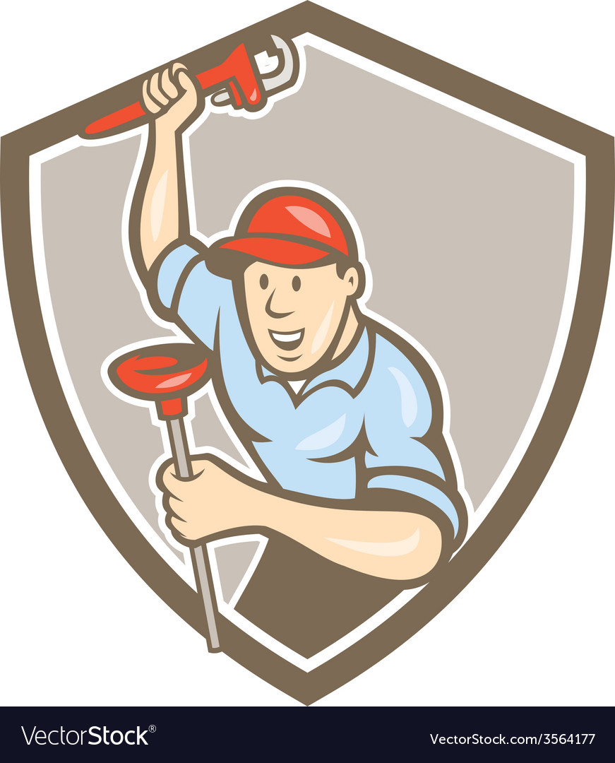 Plumber wrench plunger front shield cartoon vector | Price: 1 Credit (USD $1)