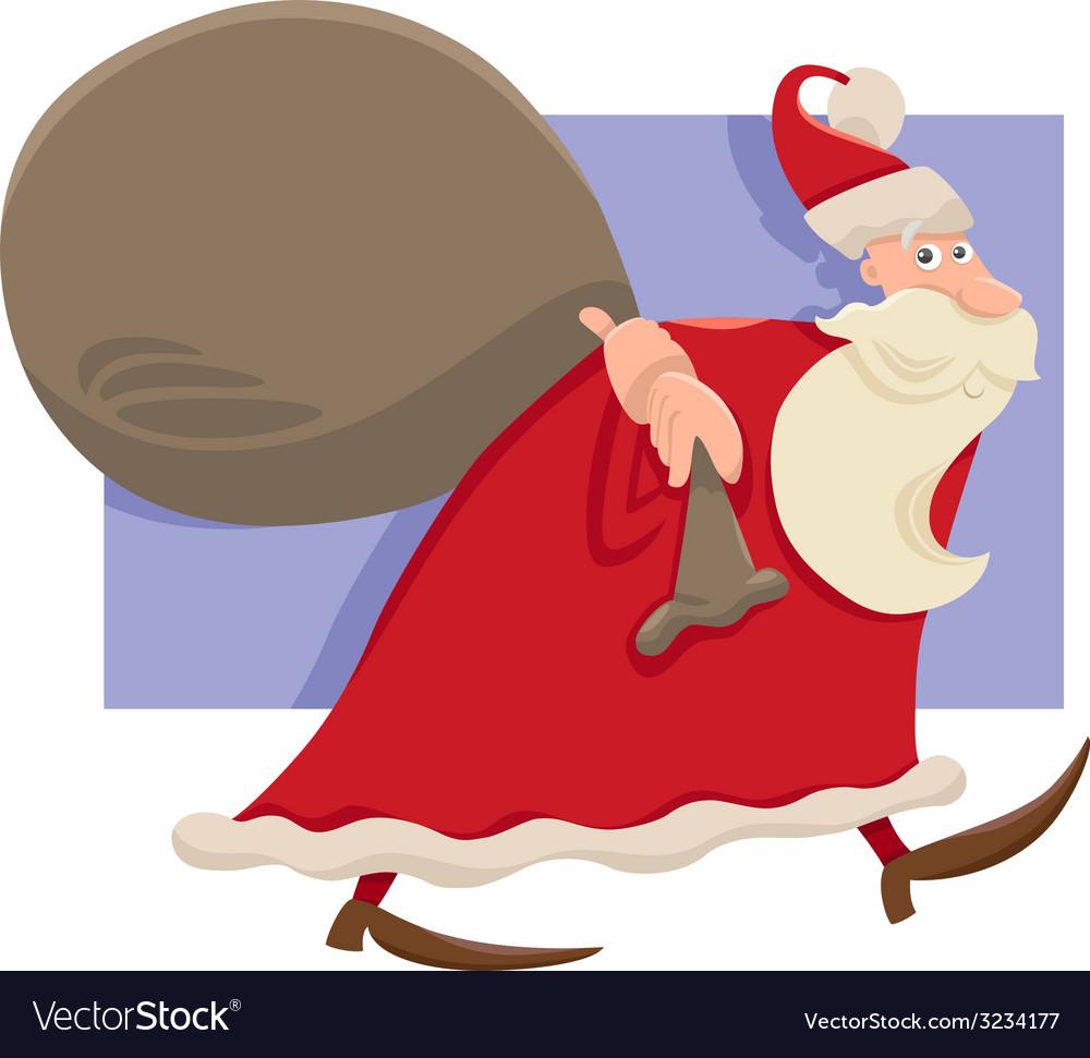 Santa with sack cartoon vector | Price: 1 Credit (USD $1)