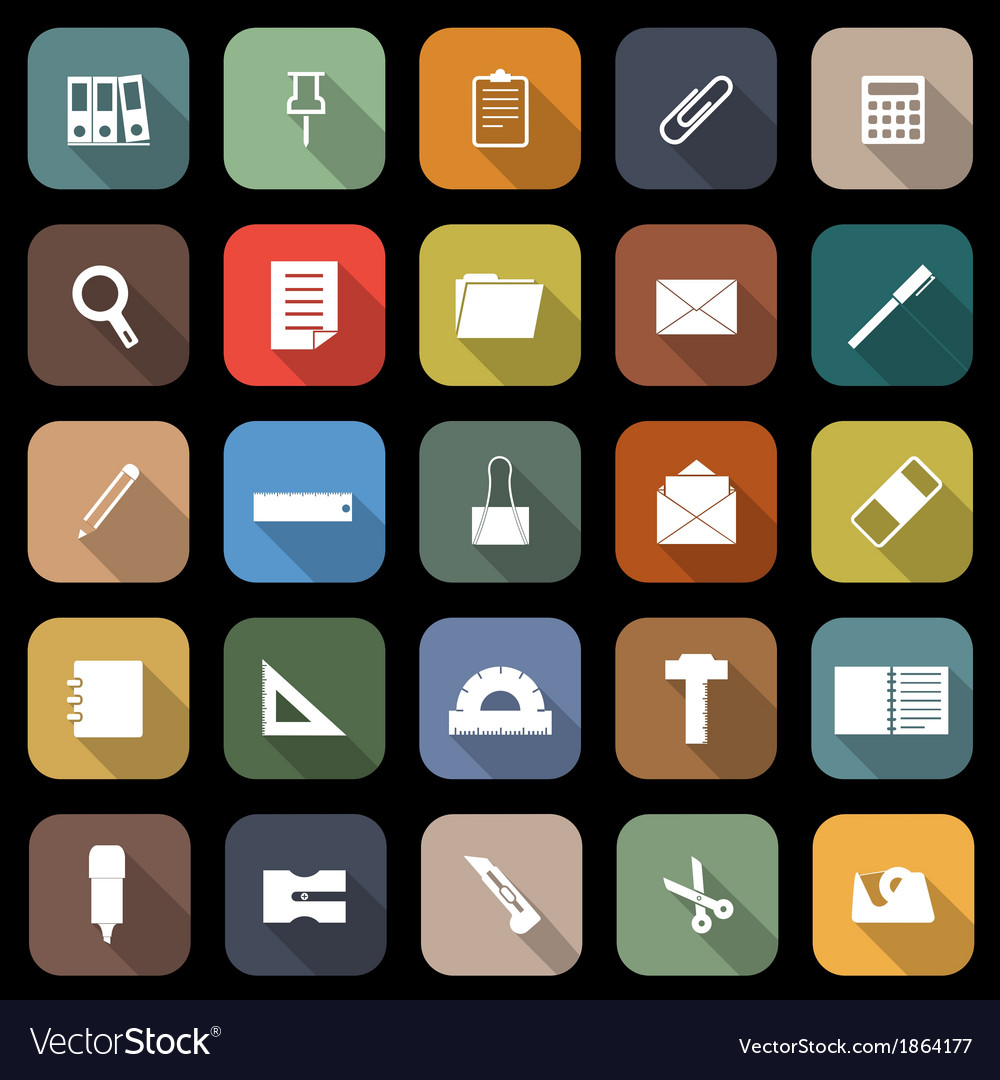 Stationary flat icons with long shadow vector | Price: 1 Credit (USD $1)