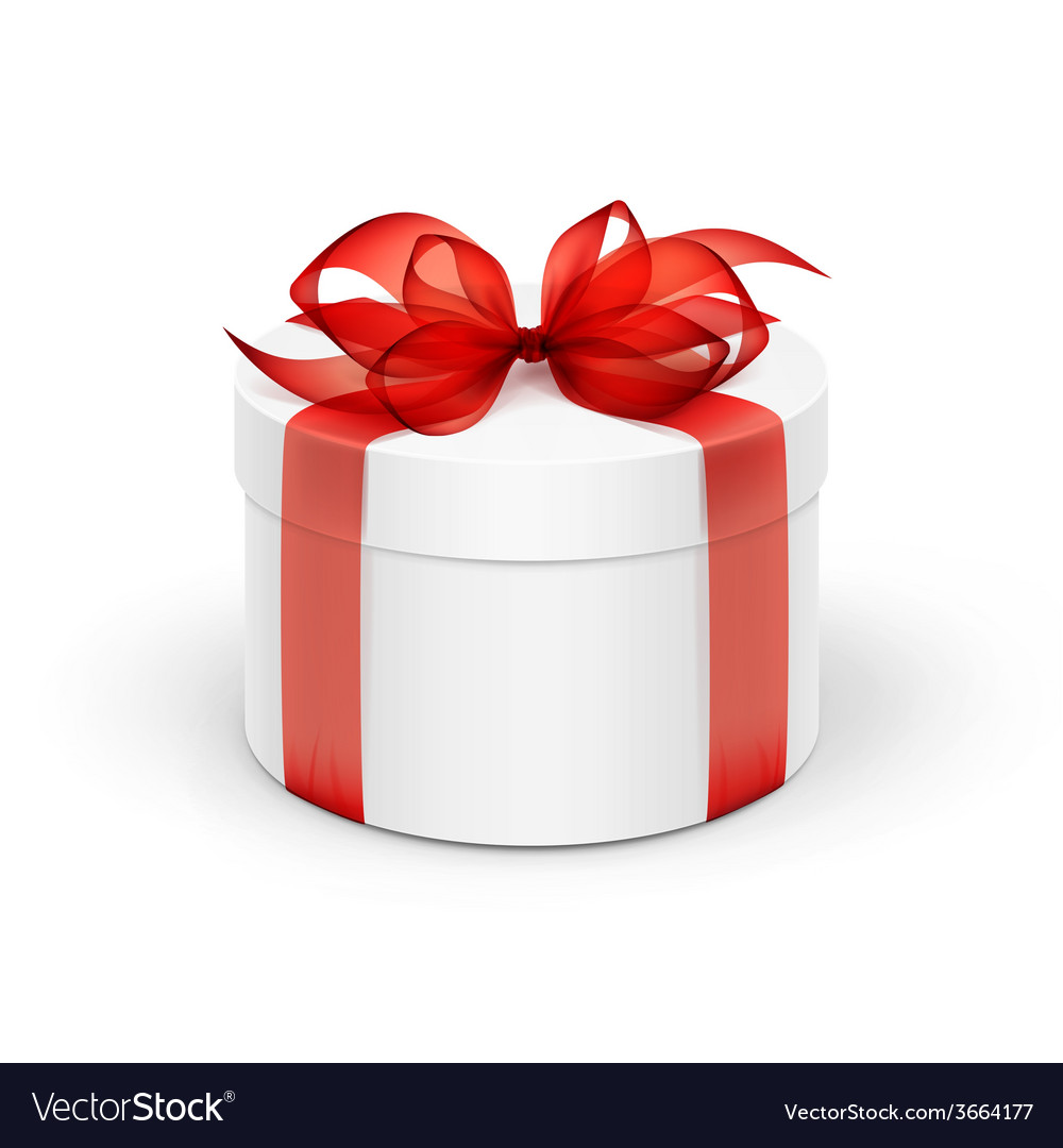 White round gift box with red ribbon and bow vector | Price: 1 Credit (USD $1)